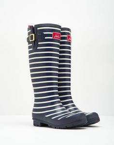 Printed French Navy Stripe Wellies  | Joules UK