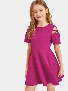 To find out about the Girls Cutout Sleeve Skater Dress at SHEIN, part of our latest Girls Dresses ready to shop online today! Girls Fashion Clothes, Kids Outfits Girls, Cute Girl Outfits, Kids Fashion, Fashion Outfits, Dresses For Teens, Girls Dresses, Cute White Dress, Tee Dress