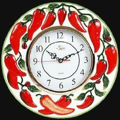 Red Kitchen Walls, Kitchen Themes, Kitchen Ideas, Red Chili Peppers, Kitchen Wall Clocks, Some Like It Hot, Southwest Decor, Stuffed Hot Peppers, Home Kitchens