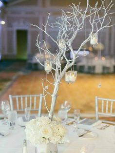 Silver Manzanita Branches with Tea Light Candles on White Linens White Branch Centerpiece, Manzanita Centerpiece, Floral Centerpieces, Wedding Centerpieces, Wedding Decorations, Manzanita Branches, Wedding Ideas, Diy Wedding, All White Wedding