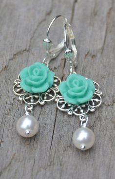 Turquoise Tiffany Blue Rose and White Swarovski Pearl