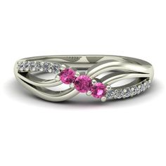 Pink Sapphire Ring  Petite Diamond Twist  by CharlesBabbDesigns
