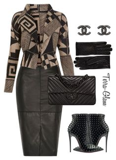 """""""Leather & Luxury"""" by terra-glam ❤ liked on Polyvore featuring River Island, Balmain, Gucci, Chanel and Christian Louboutin"""
