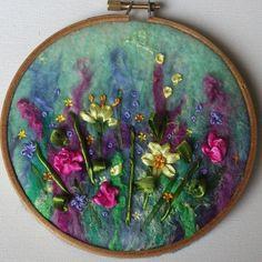 Flower Garden 2. Embroidery hoop artwork. RaeBattesonArt. https://www.etsy.com/listing/233736035/flower-garden-2-small-sized-hand-felted