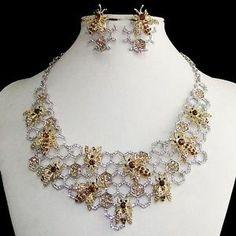 Charming Honeycomb Bee Necklace Earring Set Rhinestone Crystal Topaz