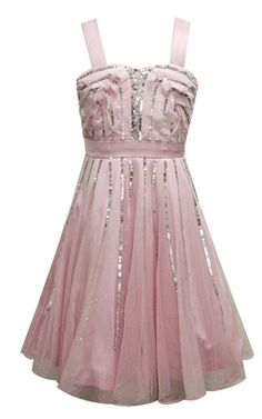 The Collection by Sara Sara Tween Girls Pink and Silver Sparkle Sequin Celine Dress