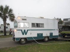 This motorhome is a 1972 Winnebago Brave . These photographs were taken at the Ocean Lakes Family Campground in Myrtle Beach, SC. What I know about this motorhome is that it was built on a Dodge Cool Campers, Retro Campers, Rv Campers, Camping Trailers, Vintage Campers, Vintage Motorhome, Vintage Rv, Vintage Travel Trailers, Used Class C Motorhomes