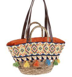 Capazo playero estilo étnico con doble asa de mano y de hombro. Beach Bags, Straw Bag, Womens Fashion, Diy, Eye, The Beach, Hampers, Sacks, Women's Handbags