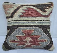 "12"" Wool Geometric Kilim Rug Decorative Pillow Case Cushion Cover~New~5326"