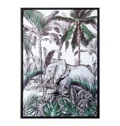 Elephant in the Jungle Framed Canvas