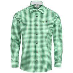 Trachtenhemd Body Fit in Grün von Gweih und Silk