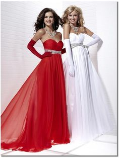 Tiffany Style prom dress shown in Red or White ? Lovely!