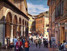 The Piazza della Republica in Urbino, Italy from the Via Raffaello
