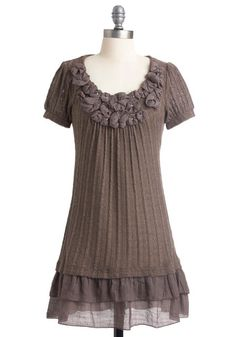 Make a Bark Dress - Brown, Solid, Flower, Ruffles, Tiered, Sweater Dress, Short Sleeves, Casual, Knitted, Rhinestones, Fall, Short