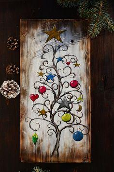 Christmas Wood Crafts, Christmas Tree Painting, Wood Christmas Tree, Christmas Signs, Rustic Christmas, Christmas Art, Christmas Projects, Holiday Crafts, Christmas Decorations