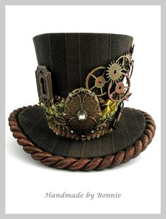 Steampunk Mini Top Hat -  Copper and Brown Pinstripe Gears, Keyhole, Key. $70.00, via Etsy.