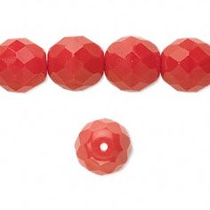 Bead, Preciosa® Czech fire-polished glass, opaque red, 12mm faceted round. Sold per 16-inch strand.