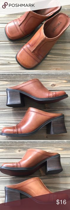"""Two Lips Mules size 7 In great shape. Made in Brazil, leather, and the name is """"Mucho"""", size 7. Heel is 3"""". The stitching on the front is a red thread. (An orangey Brown).   Make the most of your shipping dollar and peruse my closet of 1,000+ items: jackets, boots, shoes, sweaters, tops and accesories. Bundle and save $$!!!  AA3 Two Lips Shoes Mules & Clogs"""