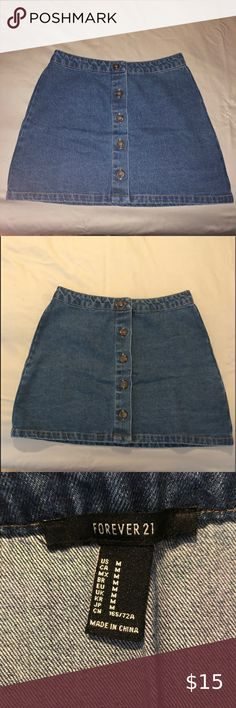 F21 Dark Button Up Denim Skirt Purchased from F21, Dark Denim Button Up Skirt, Sz Medium, Good Length, Up To Mid-thigh, (5'5-5'6) Good Condition Forever 21 Skirts Midi Button Up Skirts, Denim Button Up, Denim Skirt, Midi Skirt, Better Length, Forever 21 Skirt, F21, Dark Denim, Thighs