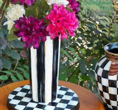 Hand Painted Black and White Striped Ceramic Vase by cindiknighton