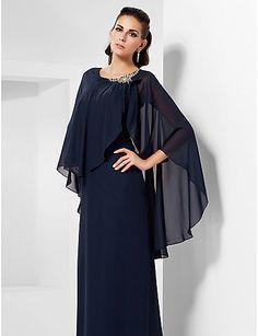 Formal Evening/Military Ball/Wedding Party Dress - Dark Navy Plus Sizes Sheath/Column Scoop Floor-length Chiffon – USD $ 85.49