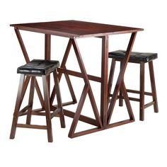 "Winsome Wood 94345 Harrington 3-Pc Drop Leaf High Table, 2 - 24"" Cushion Saddle Seat Stools"