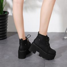 5e1c9c826f742 Round Toe Lace Up Platform Motorcycle Boots 3777. Black ...