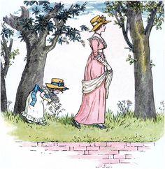 Sweet Regency Flower Picking Image! - The Graphics Fairy