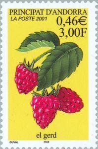 Sello: Strawberries (Andorra (Administración Francesa)) Yt:AD-FR 547,Mi:AD-FR 568