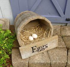 Cute DIY Wine Barrel Nesting Box - free range nest box