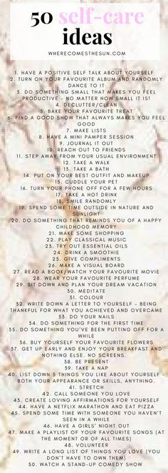 Health Inspiration 50 self-ideas for your wellbeing and mental health. 50 simple ideas to start taking care of yourself RIGHT NOW! Ayurveda Massage, Positive Self Talk, Self Care Activities, Bettering Myself, All Family, Care Quotes, Self Care Routine, Massage Therapy, Journaling