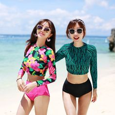 Rash Guard Plus Size Swimwear Rashguard Swimsuit Bathing Suits Bikinis New Korean Long Sleeve Turtleneck High Waist Suit-in Rash Guard from Sports & Entertainment on Aliexpress.com | Alibaba Group