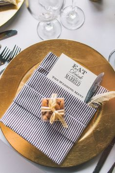 Gold and navy stripes: http://www.stylemepretty.com/2014/08/20/elegant-modern-california-ranch-wedding/ | Photography: Anna Delores - http://www.annadelores.com/