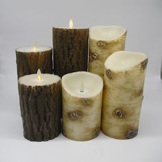 Birch Bark Christmas Decor Moving Wick Flameless LED Candles w/Remote and Timer #AnjiYinuo