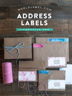Free printable water color address labels (return address too). Big collection. From World Label and Lia Griffith.