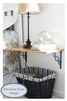 Shelf used as nightstand.  modify to use behind the sofa - i think the brackets are from home depot - this link also has shelf sizes available at home depot