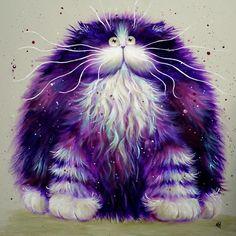 'Plum' Large Print - Kim Haskins Art - Big, fluffy and purple. Originally painted in 2012.