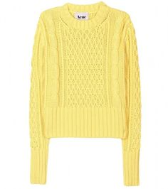 Acne Lia Cable Knit Pullover in Yellow