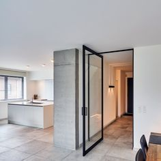 Glass pivot door with offset axis