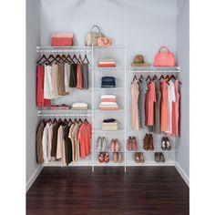 Wire Closet Organization - ClosetMaid SuperSlide 5 ft to 8 ft 12 9 in D x 96 in W x 86 3 in H White Ventilated Wire Steel Closet System Organizer Kit Closet Shelves, Closet Storage, Closet Organization, Organization Ideas, Storage Room, Storage Ideas, Wire Closet Organizer, Home Depot Closet System, Clothes Storage Systems