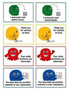 Fun encouragement cards that highlight good behavior. $