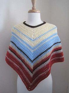 Ravelry: Easy-Crochet Poncho pattern by Kathy North Hooded Poncho Pattern, Crochet Poncho Patterns, Knitted Poncho, Crochet Cardigan, Crochet Scarves, Crochet Shawl, Easy Crochet, Crochet Clothes, Free Crochet