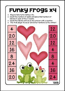 """FREE MATH LESSON - """"Funky Frogs x4 Valentine's FREEBIE"""" - Go to The Best of Teacher Entrepreneurs for this and hundreds of free lessons.  2nd - 4th Grade   http://www.thebestofteacherentrepreneurs.com/2017/01/free-math-lesson-funky-frogs-x4.html"""