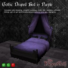 Gothic Draped Bed in Purple - Gothic Furniture for the bedroom