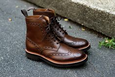 Grenson Fred - calf grain brogue boot