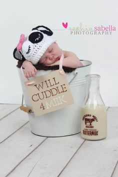 Sleepy Cow Cuddle hat Newborn Photography Prop. via Etsy.