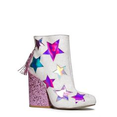 Grab these glitter cowboy booties before it's gone! Star ankle boots have holographic cutouts with a glitter encrusted upper and pink heel. Back zipper closure. Glitter Heels, Pink Heels, Shoes Heels, White Glitter, Glitter Stars, Dream Shoes, Crazy Shoes, Fancy Shoes, Ankle Booties