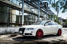 "White 2011 Audi A6 on Candy Red 26"" Blaque Diamonds"