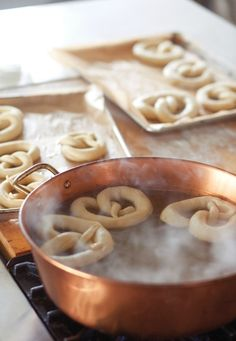 Pretzels in our copper jam pan