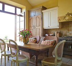 Kitchen Inspiration! ~ Rustic Pine Armoire~Style Doors, Pediment, French Cane Dining Chairs